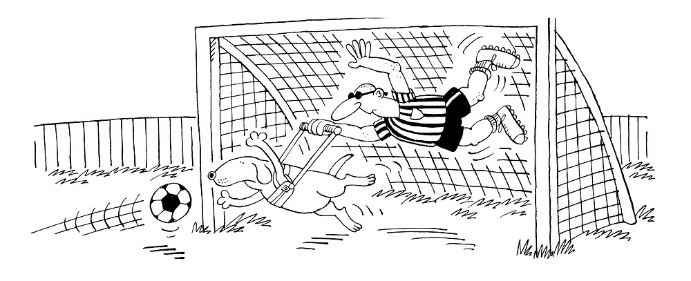 (A football match with a blind goalkeeper whose guide dog jumps for the ball)