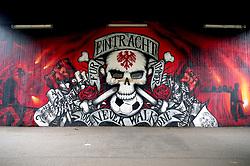 A general view of a Frankfurt football club mural outside the stadium ahead of the UEFA Europa League Semi final, first leg match at The Frankfurt Stadion, Frankfurt.