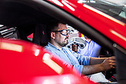 Maranello, Ferrari HMI, Stefano Randazzo and<br /> Flavio Gargiulo working<br /> on car ergonomic