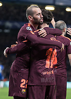 Football - 2017 / 2018 UEFA Champions League - Round of Sixteen, First Leg: Chelsea vs. Barcelona<br /> <br /> Aleix Vidal (Barcelona) congratulates goalscorer Lionel Messi (Barcelona) at Stamford Bridge.<br /> <br /> COLORSPORT/DANIEL BEARHAM