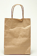 Front view a brown paper shopping bag