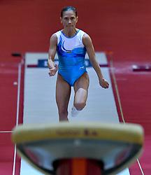 ksana Chusovitinauzb of Uzbekistan performs on the Vault  during the Women's Final at the 48th Gymnastics World Championships in Doha, capital of Qatar, Nov. 02, 2018. Simone Biles of USA won gold medal with 14.516  (Credit Image: © Yangyuanyong/Xinhua via ZUMA Wire)