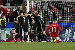 November 7, 2018 - Lisbon, Portugal - Ajax team celebrate at end of Champions League 2018/19 match between SL Benfica vs Ajax Amsterdam, in Lisbon, on November 7, 2018. (Credit Image: © Carlos Palma/NurPhoto via ZUMA Press)