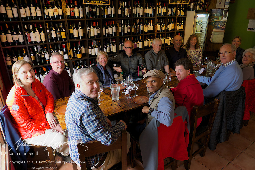 A wine tasting of the superb  products from Argentina and Chile, Patagonia, the La Vineria wine bar in El Chalten, Argentina.