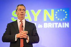 © Licensed to London News Pictures. 30/11/2015. Leeds UK. Nigel Farage speaking at the Say NO, Believe in Britain event held by the EFDD ( Europe of Freedom and Direct Democracy ) in Leeds tonight. Photo credit: Andrew McCaren/LNP