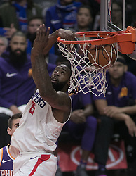 December 20, 2017 - Los Angeles, California, U.S - DeAndre Jordan #6 of the Los Angeles Clippers does a reverse dunk during their NBA game with the Phoenix Suns on Wednesday December 20, 2017 at the Staples Center in Los Angeles, California. Clippers vs Suns. (Credit Image: © Prensa Internacional via ZUMA Wire)