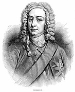 George II (1683-1760) King of Great Britain and Ireland and Elector of Hanover from 1727. Wood engraving.