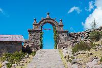 gateway at Taquile Island in the peruvian Andes at Puno Peru