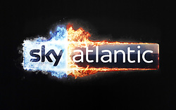 Close up of theSky Atlantic logo at the Game of Thrones Premiere, held at Waterfront Hall, Belfast.