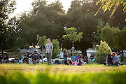 Music lovers enjoy the sun as Fast Lane Band performs during the Milpitas Summer Concert Series at Murphy Park in Milpitas, California, on July 14, 2015. (Stan Olszewski/SOSKIphoto)