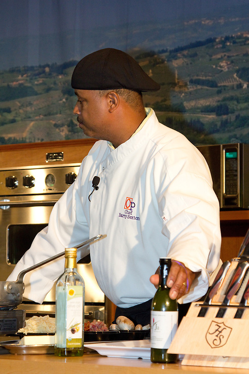 Barry Sexton, executive chef for The Opinionated Palate Catering, performs a culinary demonstration at the Atlantic City Food & Wine Festival. The Opinionated Palate serves the greater Philadelphia area.