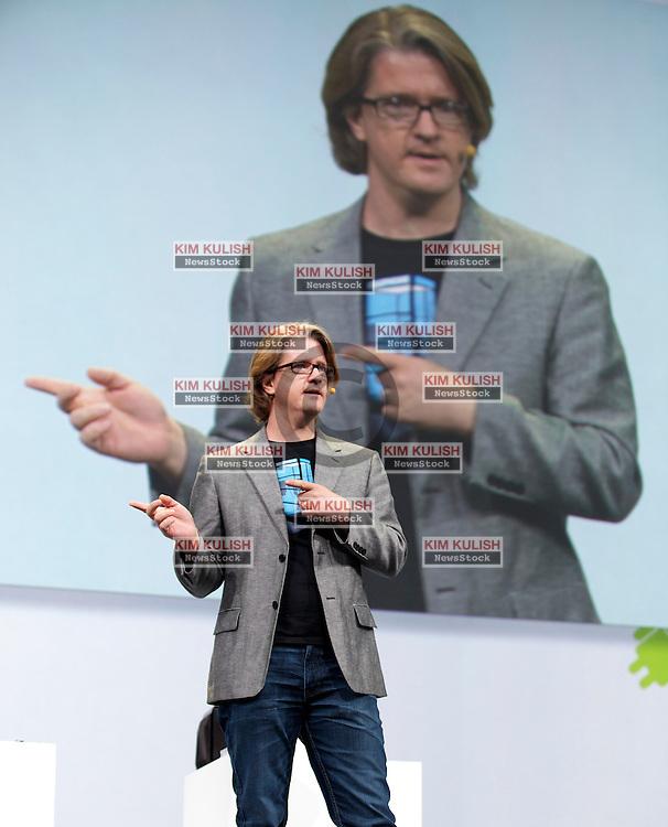 Chris Yerga, engineering director at Google Inc., gives a keynote address at the Google I/O developer's conference in San Francisco, California