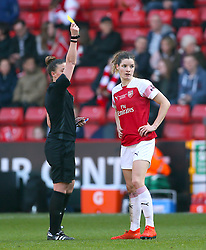 Arsenal's Dominique Bloodworth is shown the yellow card during the FA Women's Continental League Cup final at Bramall Lane, Sheffield.