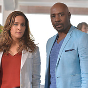"""ROSEWOOD: Pictured L-R: Jaina Lee Ortiz and Morris Chestnut in the """"Boatopsy & Booty"""" episode of ROSEWOOD airing Thursday, Oct. 13 (8:00-8:59 PM ET/PT) on FOX. ©2016 Fox Broadcasting Co. CR: Lisa Rose/FOX"""