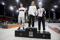 May 20, 2018 - Oslo, NORWAY - 180520 Tobias Christoffersen of Denmark, Jaakko Ojanen of Finland and Petter Brunvatne of Norway at the podium after the men's street skateboard nordic qualifier during X Games Norway on May 20, 2018 in Oslo.Photo: Fredrik Varfjell / BILDBYRÃ…N / kod FV / 150099 (Credit Image: © Fredrik Varfjell/Bildbyran via ZUMA Press)