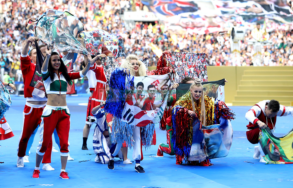Performers take part in the closing ceremony during the FIFA World Cup Final at the Luzhniki Stadium, Moscow.