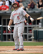 CHICAGO - APRIL 21:  Albert Pujols #5 of the Los Angeles Angels of Anaheim bats against the Chicago White Sox on April 21, 2016 at U.S. Cellular Field in Chicago, Illinois.  The Angels defeated the White Sox 3-2.  (Photo by Ron Vesely)   Subject: Albert Pujols