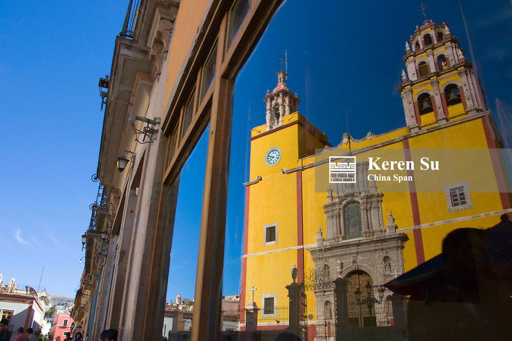 Basilica de Nuestra Senora de Guanajuato, Mexico and Plaza La Paz, Guanajuato, Mexico