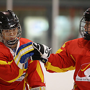 Cheng Zhang, China, (left) is congratulated after scoring a goal during the China V New Zealand match during the 2012 IIHF Ice Hockey World Championships Division 3 held at Dunedin Ice Stadium. Dunedin, Otago, New Zealand. 21st January 2012. Photo Tim Clayton