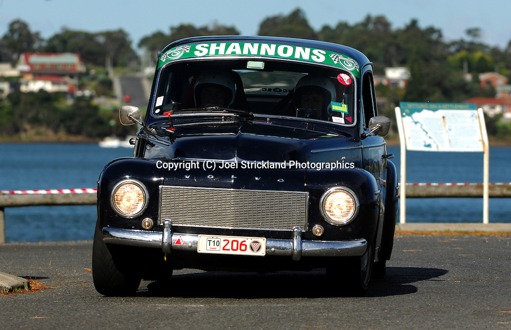 #206 - George Bevan & Virginia Bevan - 1961 Volvo PV544.Prologue.George Town.Targa Tasmania 2010.27th of April 2010.(C) Joel Strickland Photographics.Use information: This image is intended for Editorial use only (e.g. news or commentary, print or electronic). Any commercial or promotional use requires additional clearance.