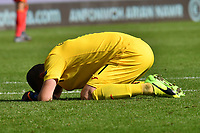 Football - 2020 / 2021 UEFA Nations League - Group B4 - Wales vs Bulgaria<br />      <br /> Georgi Georgiev of Bulgaria despondent after losing in the final seconds<br /> in a match played with no crowd due to Covid 19 coronavirus emergency regulations, in an almost empty ground, at the Cardiff City Stadium.<br /> <br /> COLORSPORT/WINSTON BYNORTH