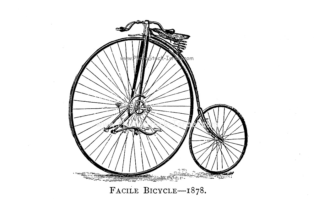 """Facile Bicycle 1878 [The Facile was patented by John Beale on 25th January 1878. It was built under licence by Ellis & Co of 165 Fleet Street, London, E.C. It was considered a 'safety' because its front wheel was smaller (36″ – 42″) than the 'ordinary' or 'penny farthing' (usually 50″ – 56"""") and the machine enjoyed considerable popularity and commercial success.] From Wheels and Wheeling; An indispensable handbook for cyclists, with over two hundred illustrations by Porter, Luther Henry. Published in Boston in  1892"""