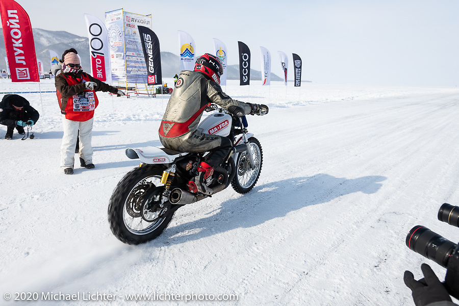 Mikhail Lyubimov racing his Harley-Davidson Sportster on which he hit 164 kmh (102 mph) on the 1-mile ice track in the Baikal Mile Ice Speed Festival. Maksimiha, Siberia, Russia. Saturday, February 29, 2020. Photography ©2020 Michael Lichter.