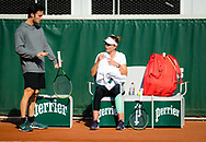 Javier Marti with Paula Badosa of Spain during practice ahead of the Roland-Garros 2021, Grand Slam tennis tournament, Qualifying, on May 28, 2021 at Roland-Garros stadium in Paris, France - Photo Rob Prange / Spain ProSportsImages / DPPI / ProSportsImages / DPPI