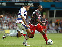 Photo: Tony Oudot.<br /> Queens Park Rangers v Stoke City. Coca Cola Championship. 06/05/2007.<br /> Ricardo Fuller of Stoke City goes past Dominic Shimmin of Queens Park Rangers