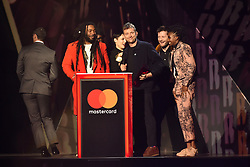 EDITORIAL USE ONLY.<br /><br />Damon Albarn and Gorillaz accepting the award for Best British Band on stage at the Brit Awards at the O2 Arena, London.