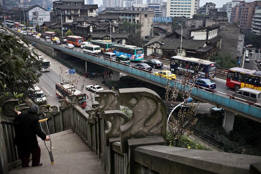 Traffic is seen in Chongqing , China, March 4, 2009.