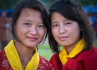 WANGDUE PHODRANG, BHUTAN - CIRCA OCTOBER 2014: Portrait of young Bhutanese girls looking at camera in Bhutan