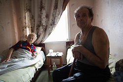 Svetlana Vorobyeva, 74, who suffers from hypertension and has become immobile in her home in Debaltsevo and her husband Ivan, 74, who looks after his wife. They been visited three times over the past there weeks by the MSF team providing care and medicines to some of Debaltsevo's hardest to rteach and most in need residents..