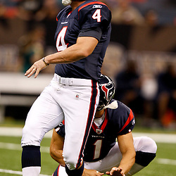 August 21, 2010; New Orleans, LA, USA; Houston Texans place kicker Neil Rackers (4) during warm ups prior to kickoff of a preseason game against the New Orleans Saints  at the Louisiana Superdome. Mandatory Credit: Derick E. Hingle