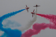 The Red Arrows display team - The Duxford Battle of Britain Air Show is a finale to the centenary of the Royal Air Force (RAF) with a celebration of 100 years of RAF history and a vision of its innovative future capability.