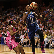 Devereaux Peters, Minnesota Lynx, in action during the Connecticut Sun Vs Minnesota Lynx, WNBA regular season game at Mohegan Sun Arena, Uncasville, Connecticut, USA. 27th July 2014. Photo Tim Clayton