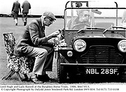 Lord Hugh and Lady Russell at the Burghley Horse Trails.  1986. 86673f13. © Copyright Photograph by Dafydd Jones<br />66 Stockwell Park Rd. London SW9 0DA<br />Tel 0171 733 0108