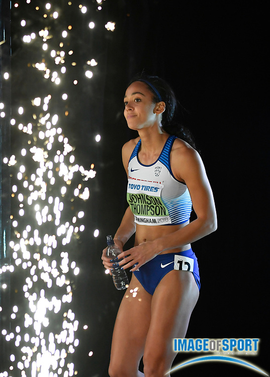 Katarina Johnson-Thompson (GBR) enters the Arena before the 800m in the Women's Pentathlon during the evening session of the IAAF World Indoor Championships at Arena Birmingham in Birmingham, United Kingdom on Friday, Mar 2, 2018. (Steve Flynn/Image of Sport)