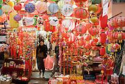 Lanterns, ornaments and souvenirs on sale in traditional Graham Street market, Sheung Wan, Hong Kong, China