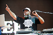 Columbia, MD - August 30th, 2010:  DJ Premier paid tribute to his former group Gang Starr with his short DJ set.  Guru, the other half of Gang Starr, passed away earlier this year. (Photo by Kyle Gustafson/For The Washington Post)