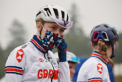 Lizzy Banks (GBR) at the 2020 UEC Road European Championships - Elite Women Road Race, a 109.2 km road race in Plouay, France on August 27, 2020. Photo by Sean Robinson/velofocus.com