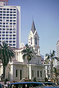 CBD buildings and roads downtown city centre of Sao Paulo, Brazil, South America 1962 - historic church Nossa Senhora do Rosario