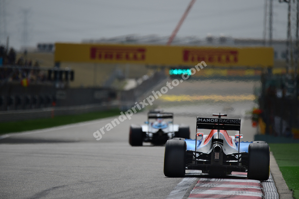 Pascal Wehrlein (Manor-Ferrari) and Felioe Massa (Williams-Mercedes) seen from behind during practice for the 2016 Chinese Grand Prix at the Shanghai International Circuit. Photo: Grand Prix Photo