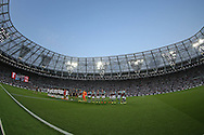 a General view of London Stadium, Queen Elizabeth Olympic Park as both teams line up before k/o.UEFA Europa league, 1st play off round match, 2nd leg, West Ham Utd v Astra Giurgiu at the London Stadium, Queen Elizabeth Olympic Park in London on Thursday 25th August 2016.<br /> pic by John Patrick Fletcher, Andrew Orchard sports photography.