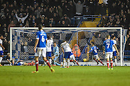 Portsmouth Forward, Noel Hunt (20) scores from close range to make it 2-0 during the EFL Sky Bet League 2 match between Portsmouth and Mansfield Town at Fratton Park, Portsmouth, England on 12 November 2016. Photo by Adam Rivers.