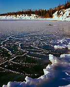 Ice forming along the shore of Lake Superior, Split Rock Lighthouse State Park, Minnesota.