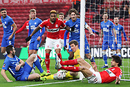 Peterborough United goalkeeper Conor O'Malley (25) gathers the ball at the front post during The FA Cup 3rd round match between Middlesbrough and Peterborough United at the Riverside Stadium, Middlesbrough, England on 5 January 2019.