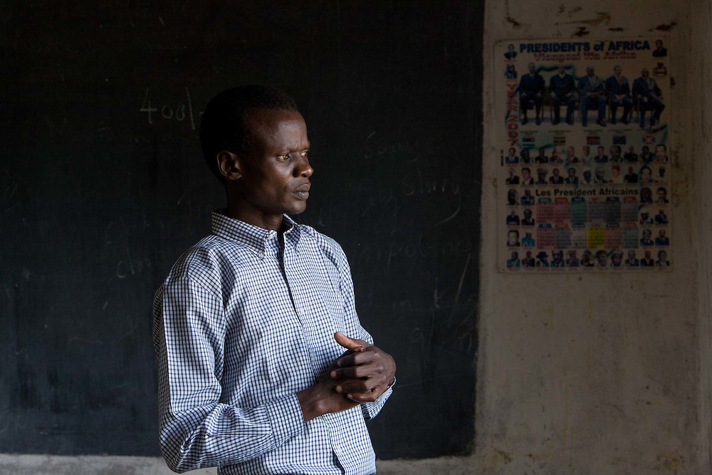 Felix Oumar head teacher in a empty class rooms at Opanae Primary school, due to the school boycott call by the OMD oppesition party. 40 km outside Kisumu, Kenya.