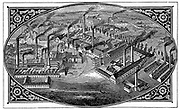 Bird's-eye view of Krupp's Works at Essen where armaments manufactured.     Wood engraving 1876