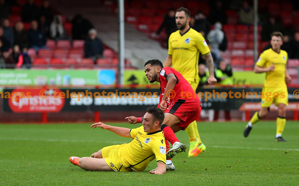 Crawley's Billy Clifford scores to make it 1-1 during the FA Cup match between Crawley Town and Bristol Rovers at the Checkatrade Stadium in Crawley. November 5, 2016.<br /> James Boardman / Telephoto Images<br /> +44 7967 642437